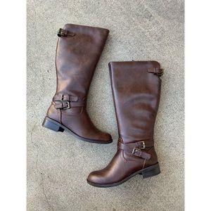 SODA Bio Brown Side Buckle Knee High Boots